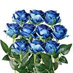Artificial Flowers 50 Pcs Bulk Blue Fabric Silk Rose Picks with Flexible 8″ Stems | Fake Flowers Perfect for Wedding Decorations, Table Centerpieces, DIY Projects