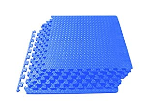 ProSource Puzzle Exercise Mat EVA Foam Interlocking Tiles, 24 Square Feet, Blue