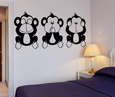 42X84 cm Tres monos sabios vinilo pegatinas de pared yoga ...