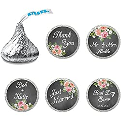 216 Personalized Wedding Chocolate Kiss Stickers - Wedding Favor Stickers for Hershey's Kisses - Chalk & Flower Wedding Favor Stickers