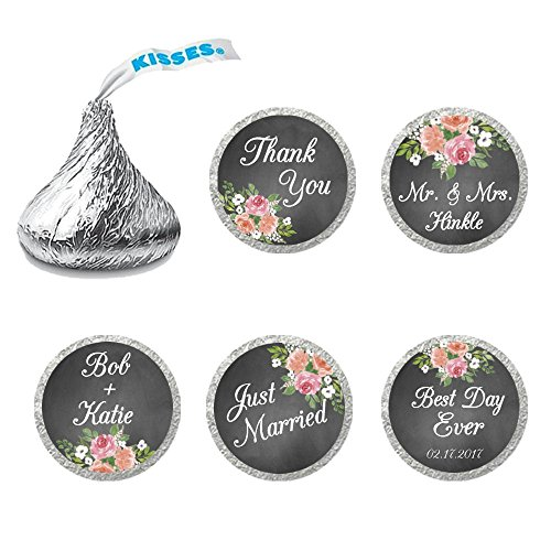 216 Personalized Wedding Chocolate Kiss Stickers - Wedding Favor Stickers for Hershey's Kisses - Chalk & Flower Wedding Favor Stickers]()
