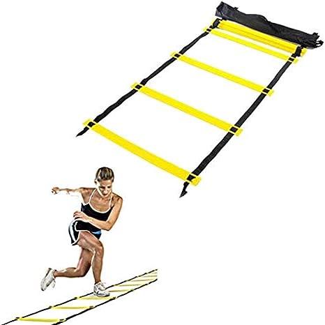 No Logo Entrenamiento de la Agilidad Escalera de Velocidad Escalera de formación de Escalera de Entrenamiento Deportes Fútbol Tenis Fútbol Equipo eléctrico 12 pies 8 peldaños: Amazon.es: Deportes y aire libre