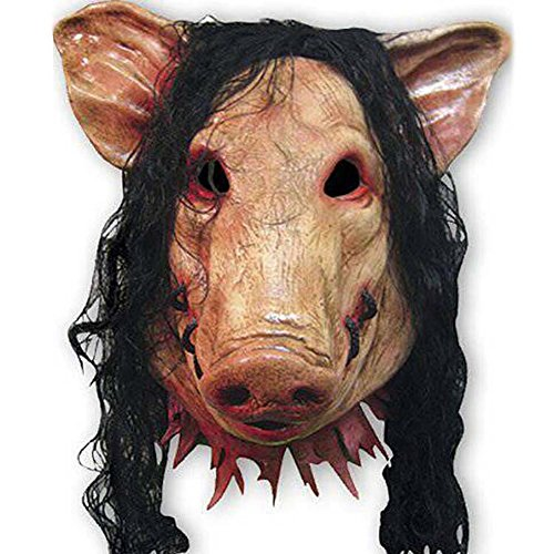 Mimgo Store Unisex Pig Head Mask with Hair Animal Saw Mask Masquerade Prop Latex Party Halloween Christmas (Halloween Costumes Saw Pig)