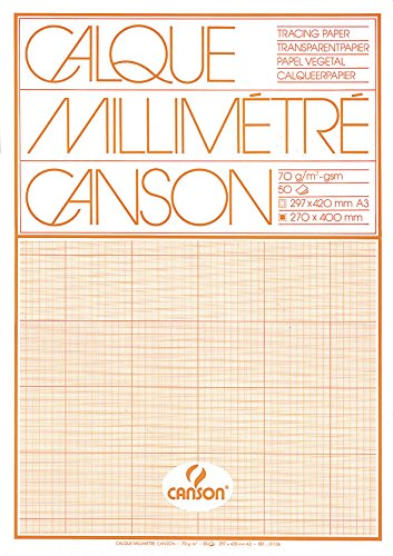 Canson 17136 Transparent Graph Paper Pad A3 70 g/m² 50 Sheets Orange