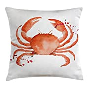 Crabs Decor Throw Pillow Cushion Cover by Ambesonne, Sea Animals Theme Watercolor Style Effect a Big Crab on White Background Print, Decorative Square Accent Pillow Case, 20 X 20 Inches, Orange