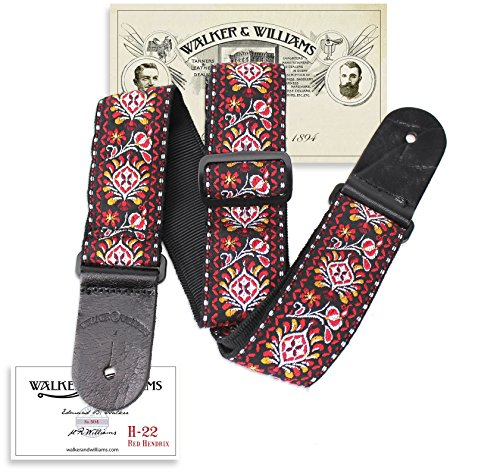 - Walker & Williams H-22 Red Hendrix Woven 60's Style Hootenanny Hippie Guitar Strap