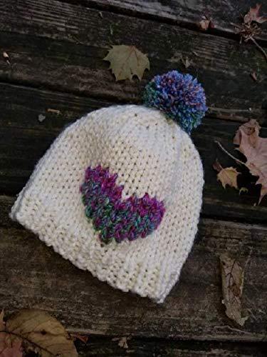 99a6656d600b8 Amazon.com  Child Knit Hat - Pom Pom Hat - Heart Baby Beanie - Child Bobble  Hat - Baby Ski Hat - Toddler Hat - Kid Beanie - Kids Hat Ac  Handmade