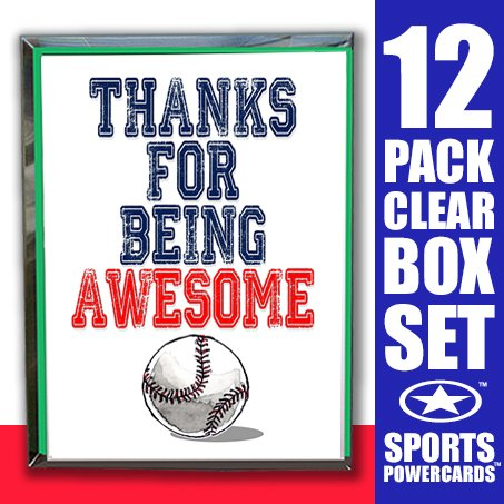 Play Strong Baseball Thanks for Being Awesome Note Cards (4.25x5.5) 12-Pack Sports Powercard Clear Box Set 12-Pack