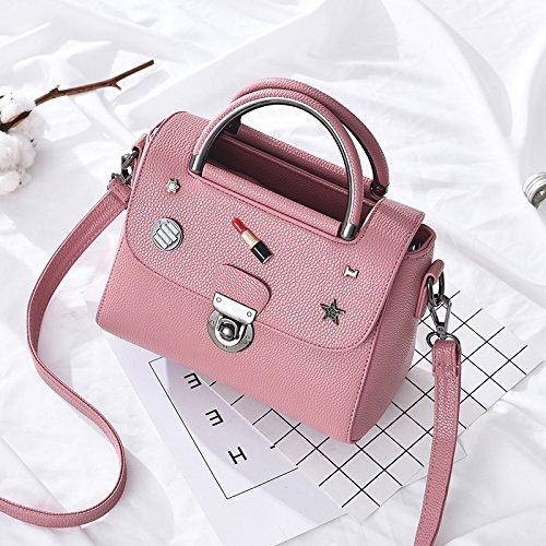 LiZhen la nuova versione del pacchetto coreano moda borse donna wild singole borse tracolla minimalista tote bag, Borsa messenger in piccoli pacchetti di partito, rosa