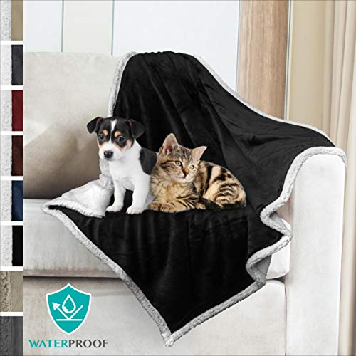 (PetAmi Premium Waterproof Soft Sherpa Pet Blanket by Cozy, Comfortable, Plush, Lightweight Microfiber, 100% WATERPROOF (30