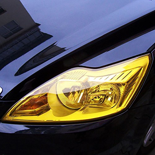 - fangfei 12 48 inches Self Adhesive Auto Car Tint Headlight Taillight Fog Light Vinyl Smoke Film Sheet Sticker Cover (Yellow)