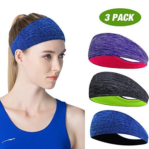 ECOLIVZIT Sport Stirnband für Herren und Damen - Schweißband Anti Rutsch für Jogging, Laufen, Wandern, Fahrrad- und Motorrad Fahren 3 Pack