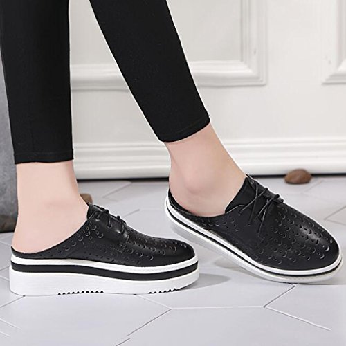 Half Polyurethane Wrap Slipper Heels Bottom Toe Casual Female High Summer Shoes Thick Black Hollow Sandals Slope n40RTR
