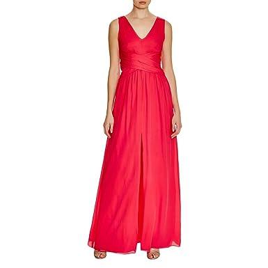 Parker Black Womens Glacier Shutter Pleat Double V Evening Dress Red 2 cecf96859
