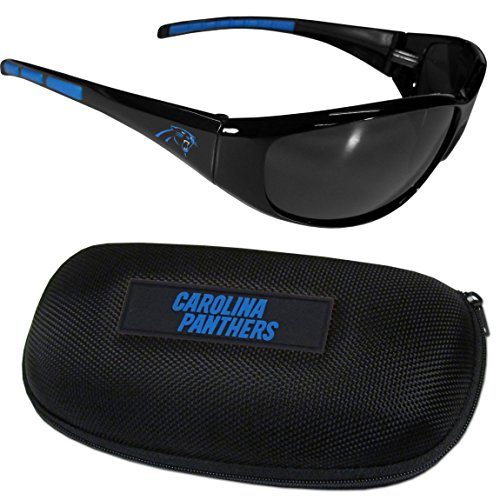 Siskiyou NFL Carolina Panthers Wrap Sunglasses & Zippered Case, Black