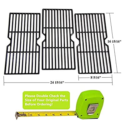 Hongso PCF123 Porcelain Coated Cast Iron Cooking Grid Set Replacement for Select Gas Grill Models by Kenmore, Charbroil, Thermos, Set of 3