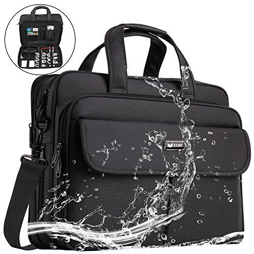 EYBF Laptop Bag 15.6 inch Expandable Laptop & Tablets Briefcase Business Travel Handbag for Men Women,Water Resistant Lightweight Messenger Shoulder Bag Computer Case with Organizer, Black