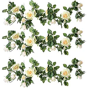 ZEROIN 3 Packs Artificial Flowers Hanging Plants Silk Flower Garlands Green Plant Home Garden Wall Fence Stairway Outdoor Wedding Hanging Baskets Decor 89