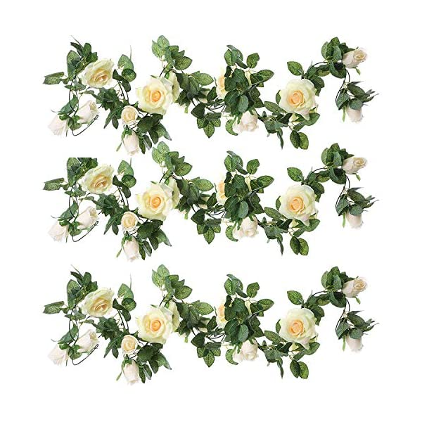 ZEROIN-3-Packs-Artificial-Flowers-Hanging-Plants-Silk-Flower-Garlands-Green-Plant-Home-Garden-Wall-Fence-Stairway-Outdoor-Wedding-Hanging-Baskets-Decor