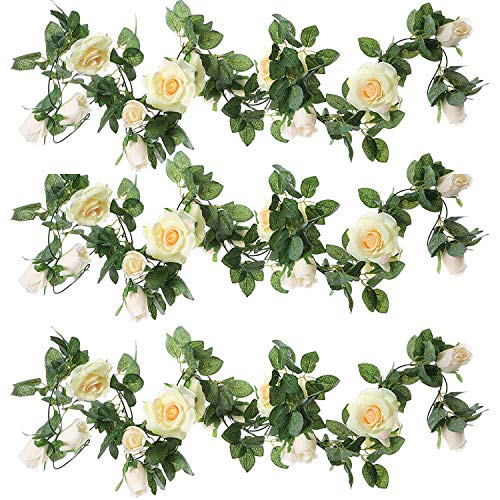 ZEROIN 3 Packs Artificial Flowers Hanging Plants Silk Flower Garlands Green Plant Home Garden Wall Fence Stairway Outdoor Wedding Hanging Baskets Decor (Champagne) ()