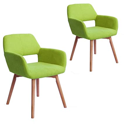 Pleasant Lansen Furniture Set Of 2 Modern Living Dining Room Accent Arm Chairs Club Guest With Solid Wood Legs Green Inzonedesignstudio Interior Chair Design Inzonedesignstudiocom
