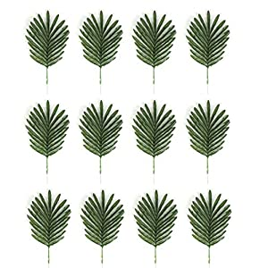 USATDD 12 Pack Faux Fake Tropical Large Palm Leaves Artificial Palm Plants Leaves Imitation Leaf Artificial Plants for Home Party Wedding Decorations Christmas Decor 91