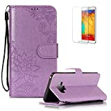 Funyye PU Leather Wallet Case for Samsung Galaxy Note 9 Free HD Protector,Premium Lace Flower Pattern Magnetic Flip with Cash Pouch Card Slot Design Cover for Samsung Galaxy Note 9,Purple