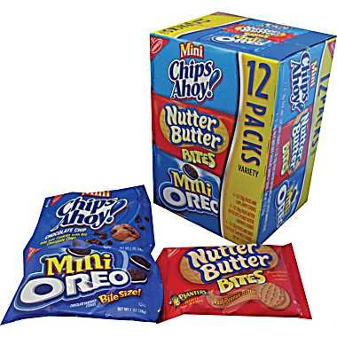 Nabisco Variety Snack Pack 36 Pack (12-Mini Chips Ahoy,12- Nutter Butter Bites,12- Mini Oreos) by Nabisco