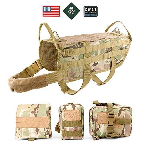 (JASGOOD Tactical Dog Vest Harness Handle Training Dog Vest with Detachable Molle Pouches/Patches)