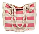 MalironaBeachCanvasTravelToteBag (Pink Stripes)