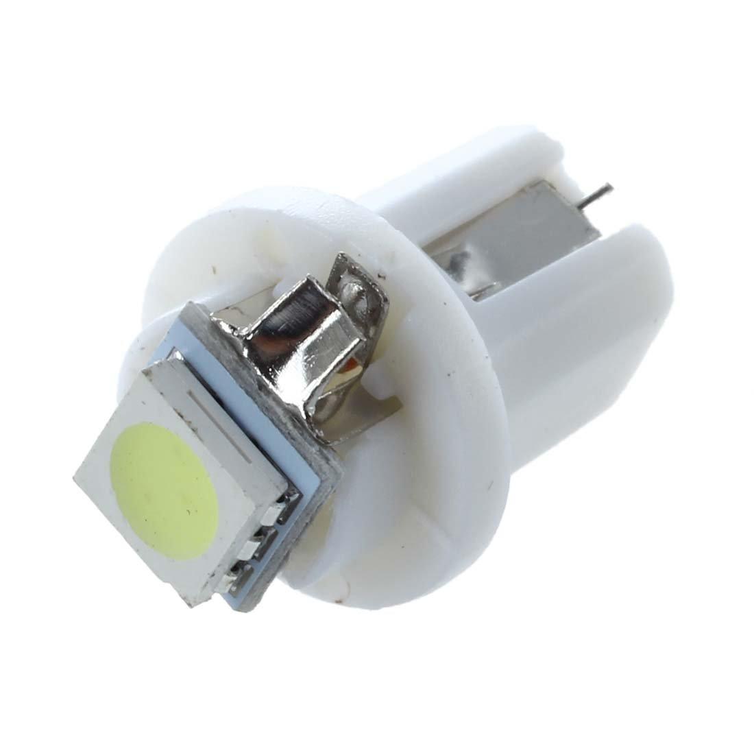 LED lampara del coche - SODIAL(R) 10 pzs T5/B8.5D 5050 SMD LED enchufe Iluminacion Interior tacometro Blanco