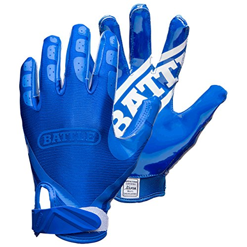 Battle Double Threat Adult Football Gloves, Blue, Medium (Gloves Receiver Double Football Grip)