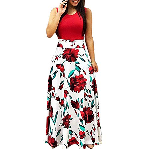 Aublary Womens Long Sleeve Maxi Dress Round Neck Floral Print Casual Tunic Long Maxi Dress (2XL, Red-Sleeveless) (Flower Print Maxi Dress)
