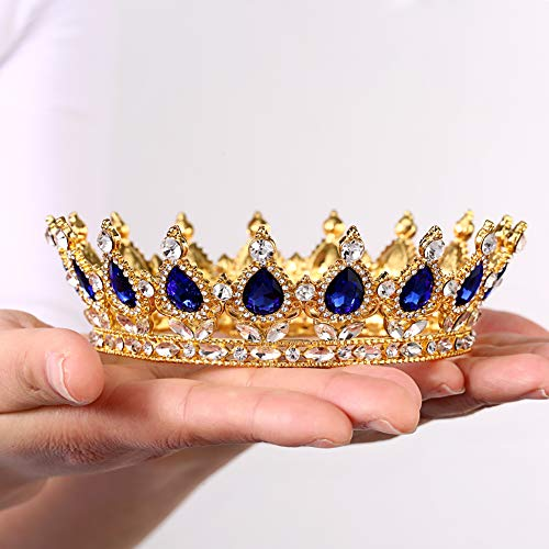 (Crystal Crown Cake Topper Height Gold Vintage Peacock Rhinestone Crown Strong Stones Will Not Fall Birthday Party Beauty pageant Adult Ceremony Prom Wedding For Mother Bride Bridesmaid Queen Princess Girl(Gold-blue))
