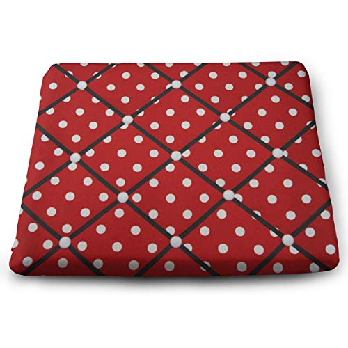 Ladninag Seat Cushion Red White Polka Dot Chair Cushion Offices Butt Chair Pads for Cars/Outdoors/Indoor/Kitchens/Wheelchairs