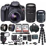 Canon EOS Rebel T6 18.0 MP DSLR Camera w/EF-S 18-55mm & EF 75-300mm Lenses & Zoom TTL Flash Gun Bundle