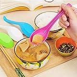 Vistaric 3Pcs Kitchen Tableware Plastic Spoon with a Long Handle Hook Spoons Tablespoon Child Porridge Soup Spoon TG: Orange