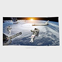 Cotton Microfiber Bathroom Towels Ultra Soft Hotel SPA Beach Pool Bath Towel Astronauts Space Shuttle And Station In Outer Space Elements Of This Image Furnished By Nasa