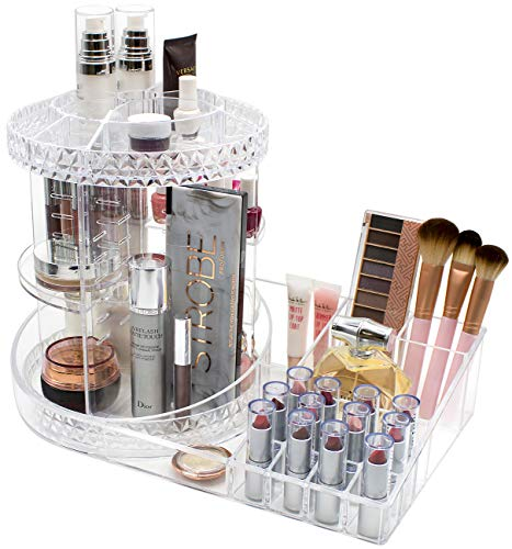 Sorbus Rotating Makeup Organizer Station Nail Bar, 360° Rotating Adjustable  Carousel with Tray for Cosmetics, Skincare, etc — Great for Vanity,