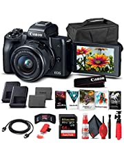 $699 » Canon EOS M50 Mirrorless Digital Camera with 15-45mm Lens (Black) (2680C011) + 64GB Memory Card + Case + Corel Photo Software + LPE12 Battery + Charger + Card Reader + HDMI Cable + More (Renewed)