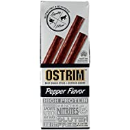 Ostrim High Protein Snack, Beef & Ostrich, Pepper Stick, 1.5-Ounce Sticks (Pack of 20)