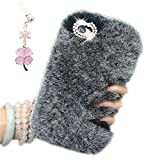 iPhone SE iPhone 5S Back Case Cover, Bonice [Bling Diamond] Stylish Luxury Unique Winter Soft Warm Faux Rabbit Fur Fuzzy Plush with Crystal Cute Bowknot Handmade Decorative Protective Back Cover for Girls Xmas Gift - Dark Grey