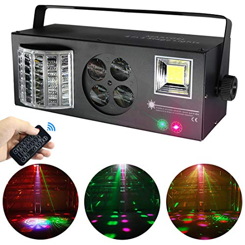 Stage Lights,MARYGEL 4 in 1 Mixed Effect Sound Activated RGBW LED Pattern Lights Strobe Light By Remote and DMX Control for DJ Club Disco Party Wedding Birthday Christmas(Black) ()