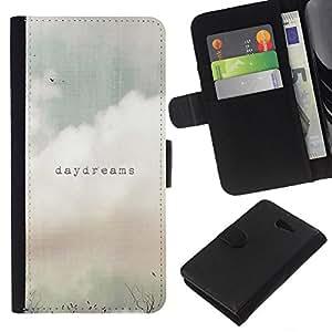 EJOY---La carpeta del tirón la caja de cuero de alta calidad de la PU Caso protector / Sony Xperia M2 / --Daydreams Vignette Cita texto del campo del verano