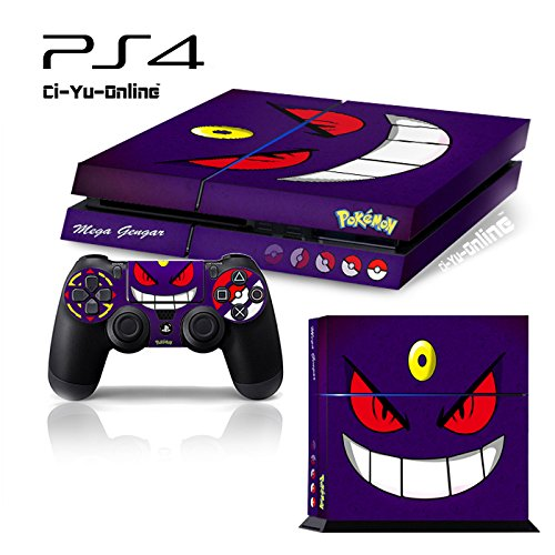 Ci-Yu-Online VINYL SKIN [PS4] Pokemon #5 Mega Gengar Whole Body VINYL SKIN STICKER DECAL COVER for PS4 Playstation 4 System Console and Controllers