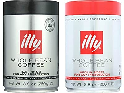 Illy Whole Bean Coffee Variety 2 Pack (Dark Roast 8.8 Oz + Medium Roast 8.8 Oz)