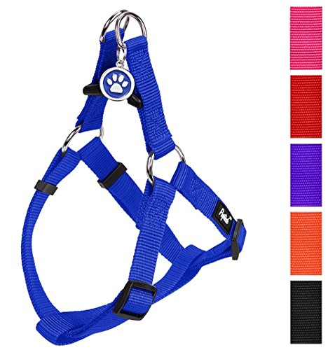 PUPTECK No Pull Dog Harness Adjustable Basic Nylon Step in Puppy Vest Outdoor Walking Chest Girth 14.8-22 Small
