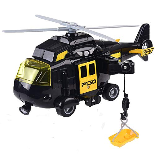 OMGTOY Military Helicopter, Airforce Airplane Toy with Hanging Basket Lights and Sounds for -