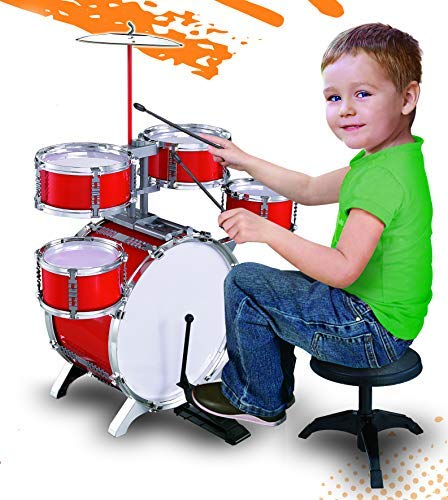 MeeYum Kids Little Boys Drum Set 10 Piece Musical Instruments Jazz Band with Chair Cymbal Pedal and Drumsticks