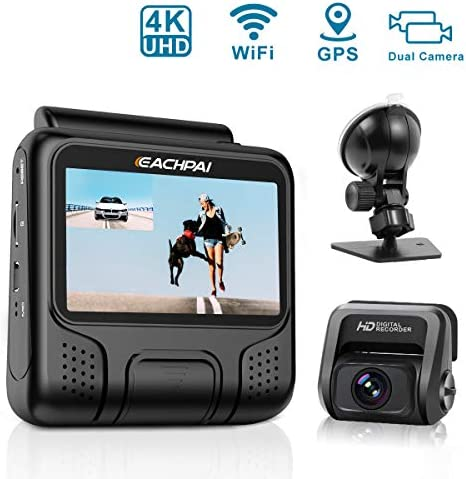 4K Dash Cam for Cars, EAHCPAI E100 Pro Dash Camera Dual Front and Rear with WI-FI, GPS, Motion Detection, Parking Monitor, G-Sensor, Loop Recording, WDR